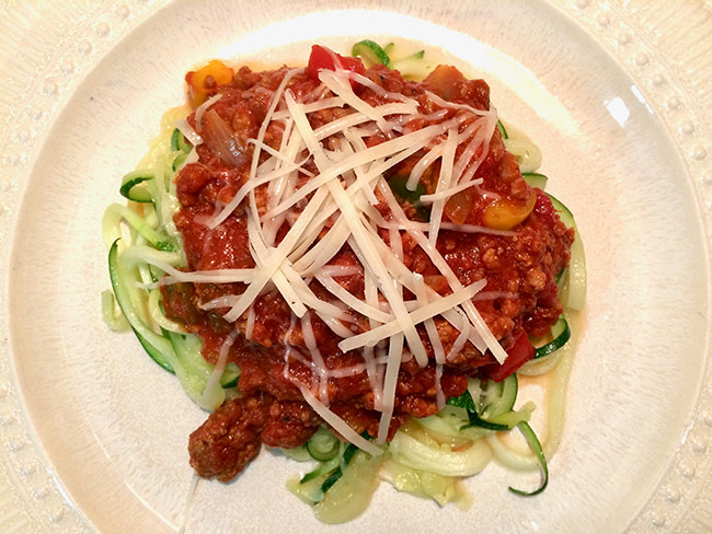 Pasta Sauce on Zoodles